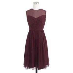J. Crew Bridesmaid Burgundy Clara Chiffon Dress 00